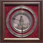"""Плакетка-часы с видом Москвы """"Спасская башня"""""""