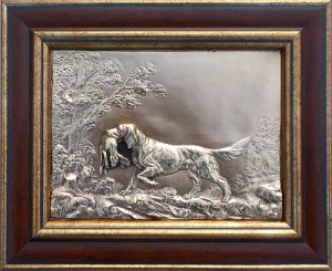 "Картина из металла ""Собака с зайцем"""