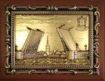 """Плакетка с видом Санкт-Петербурга """"Дворцовый мост"""" в подарочной упаковке"""